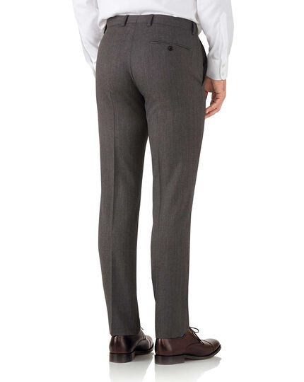 Slim Fit Hairline-Business Anzug Hose in Mokka