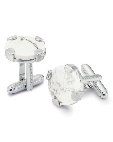Metall-Manschettenknöpfe mit rundem Design und Schließe in Marmor
