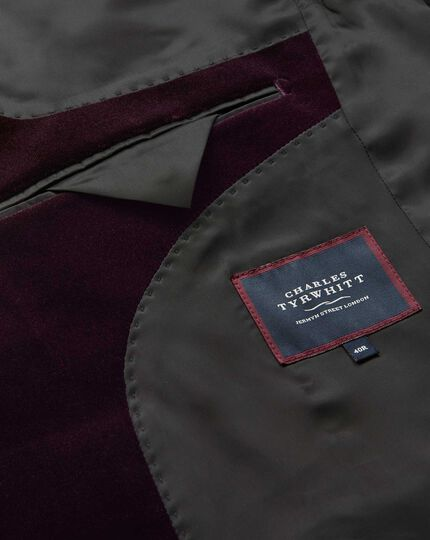 Slim fit aubergine velvet jacket