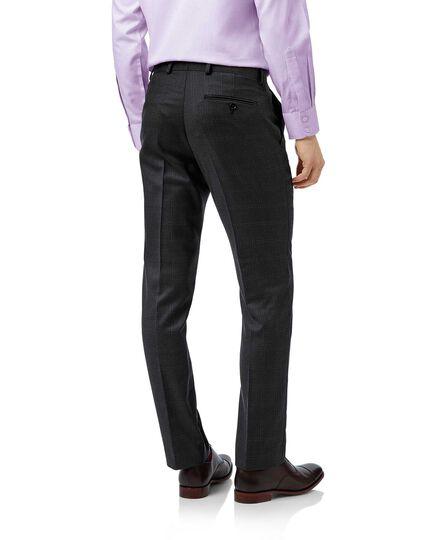 Grey check slim fit birdseye travel suit