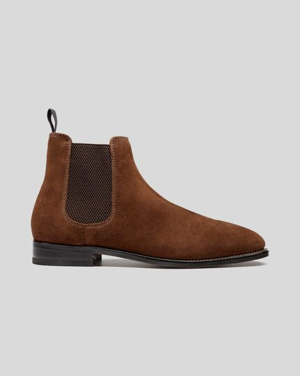 Goodyear Welted Suede Chelsea Boot - Brown