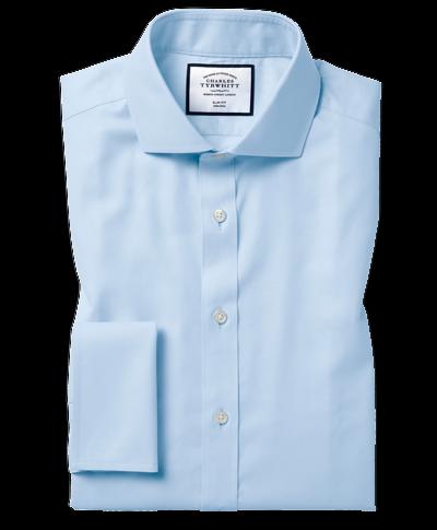 Classic fit sky blue non-iron twill cutaway collar shirt