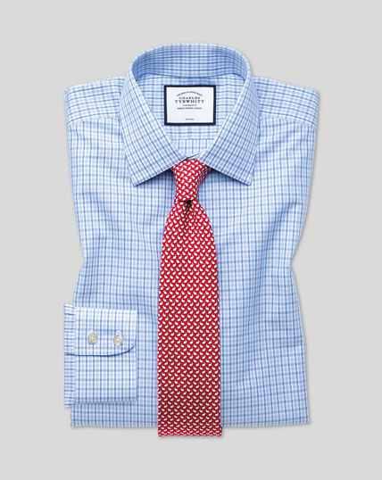 Blauw-hemelsblauw, strijkvrij geruit overhemd met klassieke pasvorm