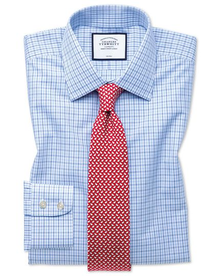 Classic fit non-iron blue and sky blue check shirt