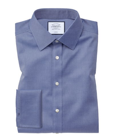 Classic fit non-iron twill mid blue shirt