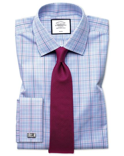 Classic fit non-iron Prince of Wales sky blue and pink shirt
