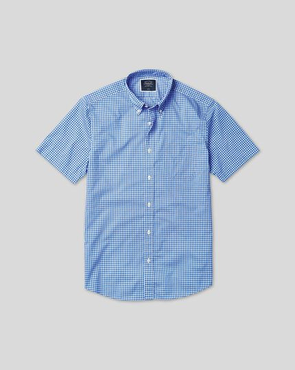 Button-Down Collar Short Sleeve Soft Washed Stretch Poplin Check Shirt - Sky