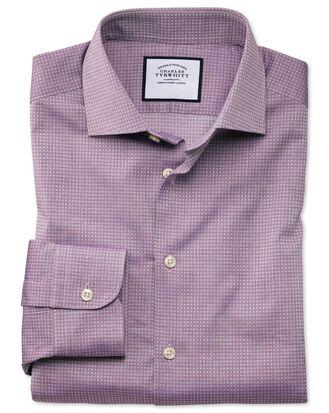 Chemise business casual violette texturée à imprimé carrés coupe droite