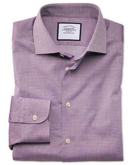 Slim fit business casual purple square texture shirt