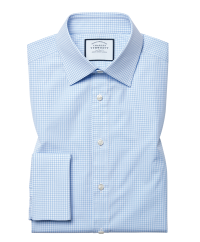 Classic fit sky blue small gingham shirt