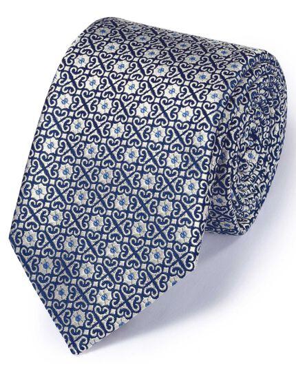 Silver silk English luxury geometric tie