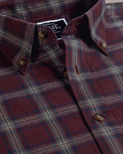Classic fit burgundy and blue check herringbone melange shirt