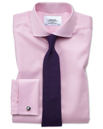 Slim fit spread collar non-iron puppytooth light pink shirt