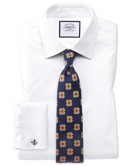 Slim fit Egyptian cotton trellis weave white shirt