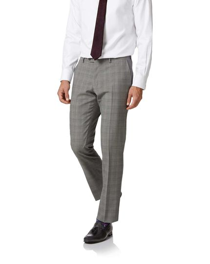 Grey Prince of Wales slim fit Panama business suit