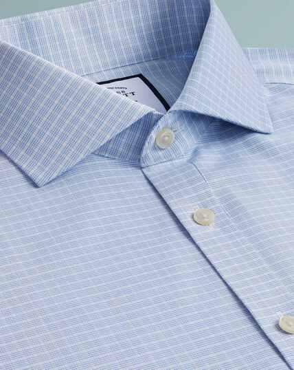 Non-Iron 4-Way Stretch Check Shirt - Sky Blue