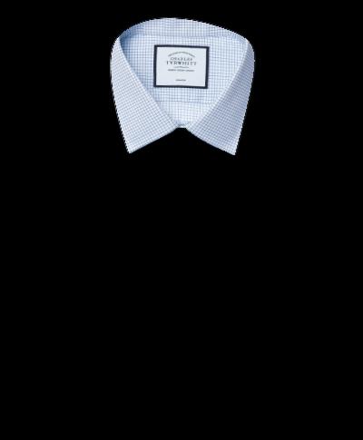 Super slim fit non-iron sky blue mini grid check shirt