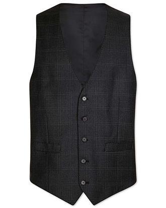 Grey slim fit birdseye travel suit waistcoat