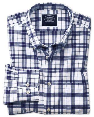 Slim Fit Popeline-Hemd in Marineblau und Weiß