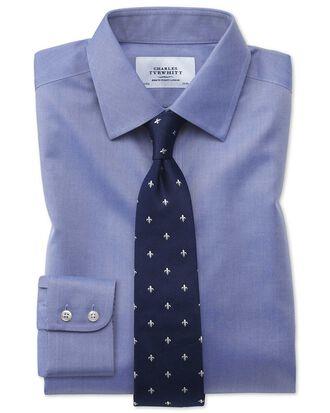 Chemise bleue en twill extra slim fit sans repassage