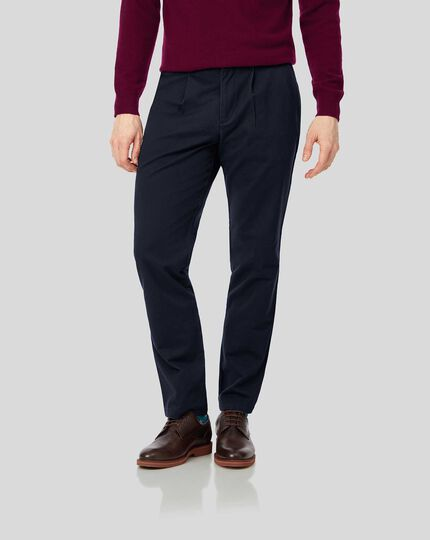 Single Pleat Smart Non-Iron Chinos - Navy
