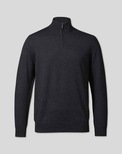 Merino Zip Neck Sweater - Dark Charcoal