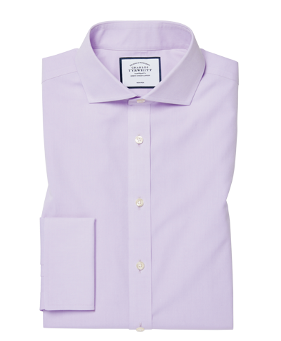 Extra slim fit non-iron cutaway collar poplin lilac shirt