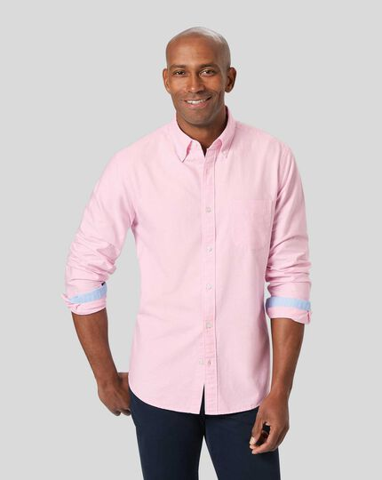 Button-Down Collar Washed Oxford Shirt - Pink