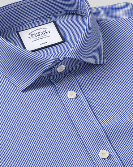 Cutaway Collar Non-Iron Puppytooth Shirt  - Royal Blue