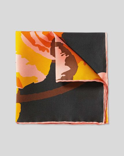 Abstract Floral Print Pocket Square - Navy & Orange