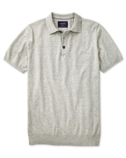 Silver heather short sleeve polo collar jumper