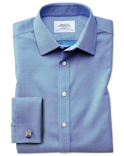 Classic fit non-iron square weave blue shirt