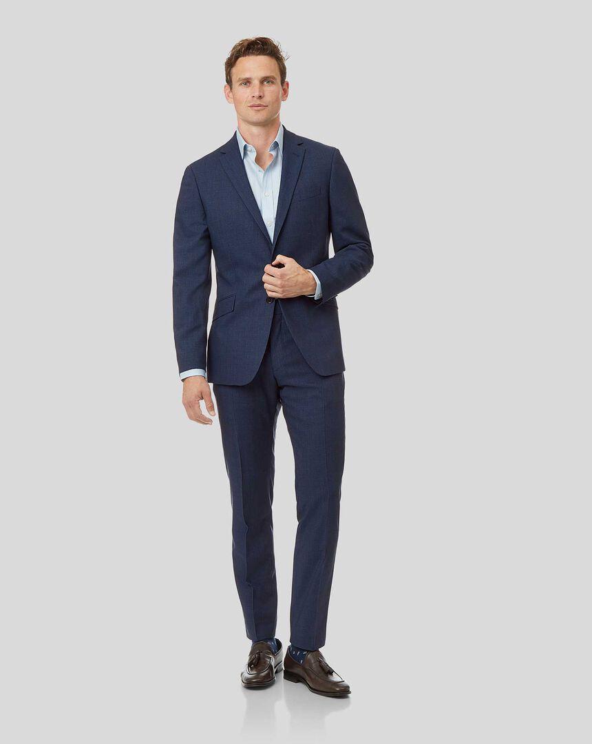 Mini Grid Suit - Mid Blue