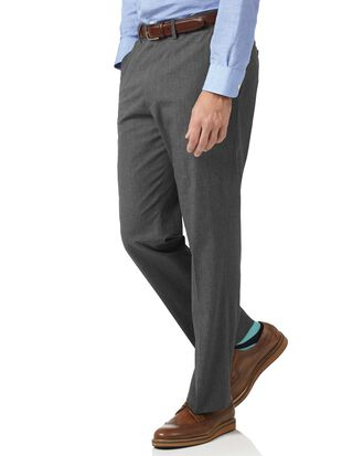 Slim Fit Hose aus Baumwolle mit Hahnentrittmuster in Anthrazit
