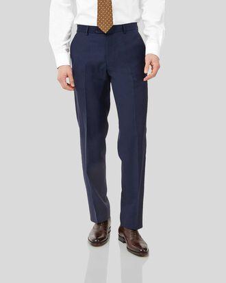 Ink blue classic fit birdseye travel suit trousers