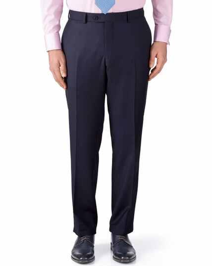 Ink blue classic fit birdseye travel suit pants