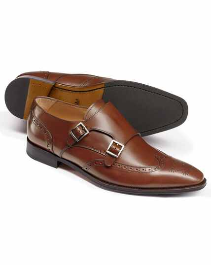 Chestnut double buckle brogue monk shoes