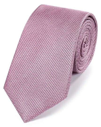 Lilac silk plain classic tie