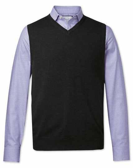 Pull anthracite foncé en laine mérinos sans manches