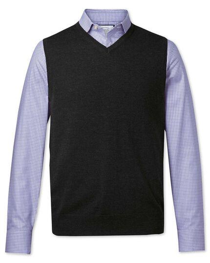 Dark charcoal merino wool tank jumper