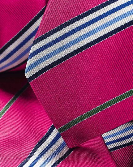 Silk Reppe Stripe English Luxury Tie - Bright Pink