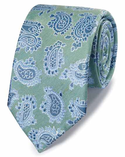 Green linen silk paisley classic tie
