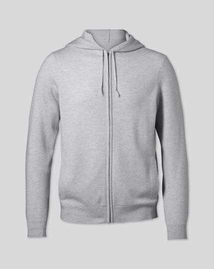 Merino Cashmere Zip Through Hoodie - Silver