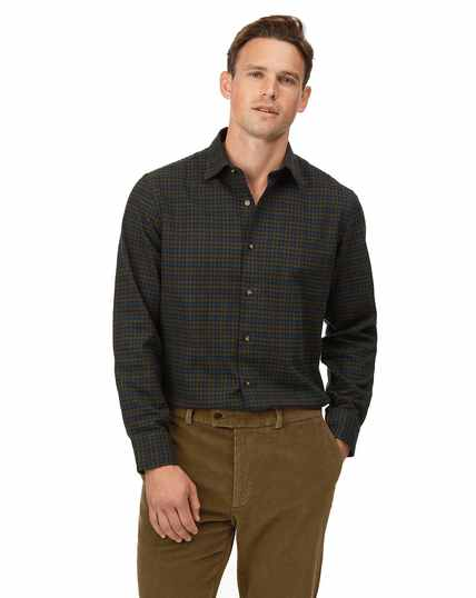 Slim fit winter flannel tartan green check shirt