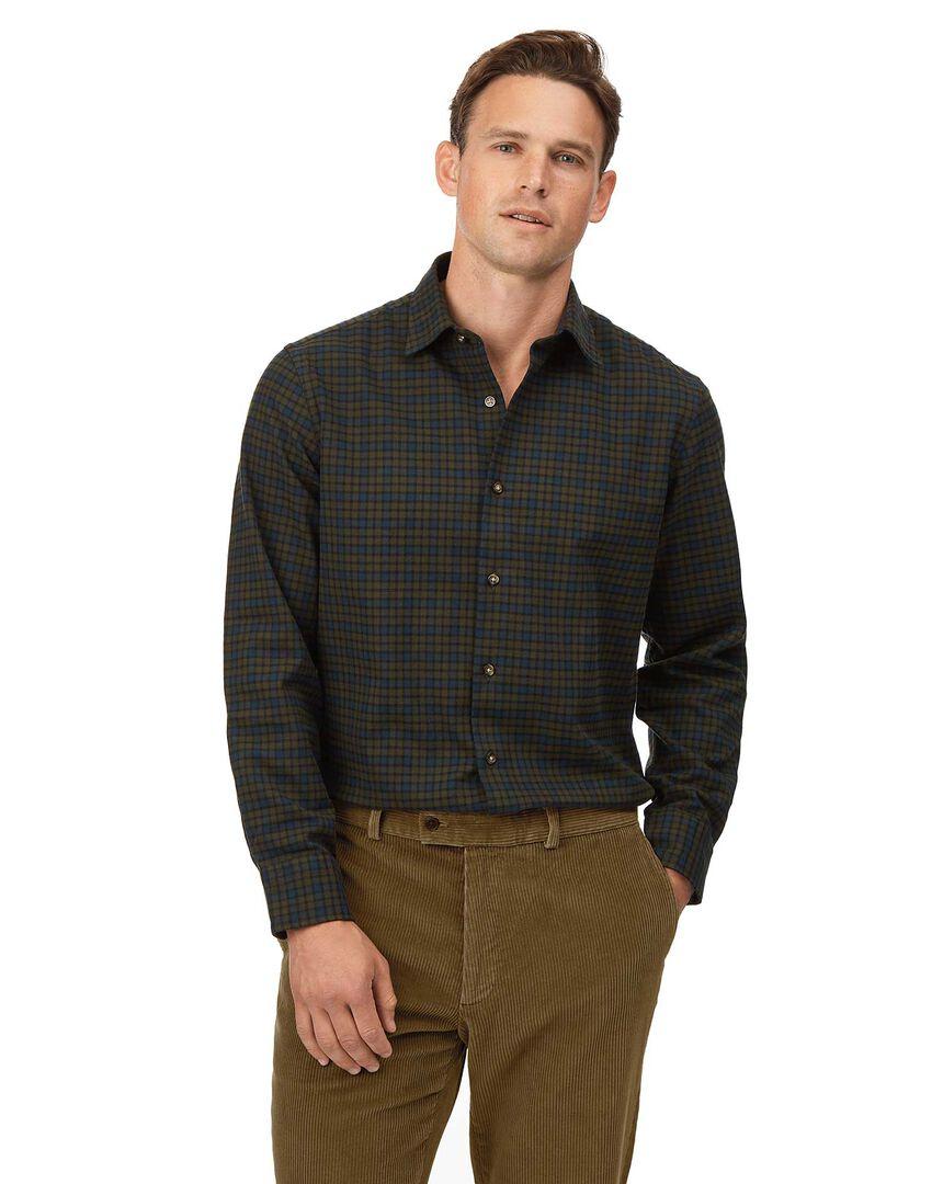 Slim fit winter flannel tartan green check shirt