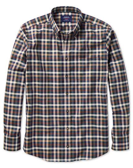 Slim fit button-down non-iron twill brown multi check shirt