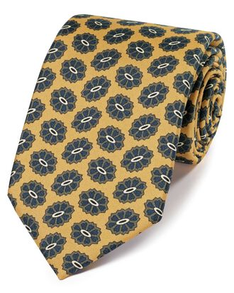 Gold silk medallion print English 7-fold luxury tie