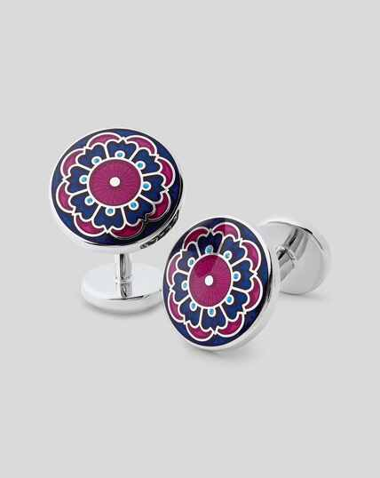 Floral Enamel Cufflinks - Berry & Navy