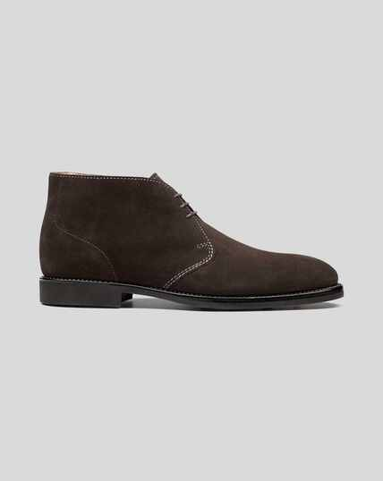 Goodyear Welted Suede Chukka Boot - Chocolate