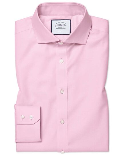 Extra slim fit spread collar pink non-iron twill shirt